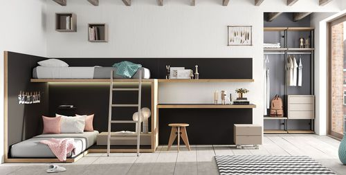white children's bedroom furniture set / wooden / unisex