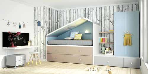 white children's bedroom furniture set / blue / wooden / unisex