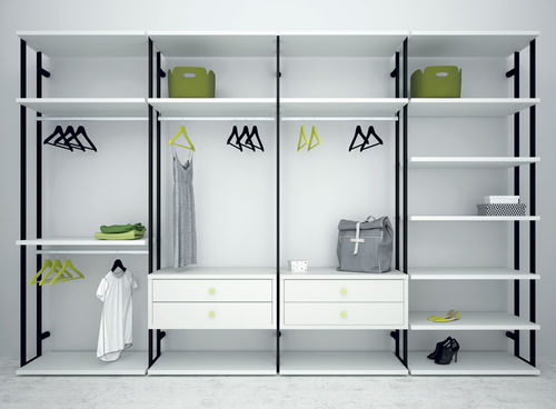 contemporary walk-in wardrobe / lacquered wood / metal