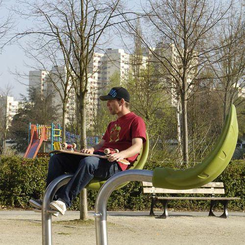 original design chair / with footrest / stainless steel / galvanized steel