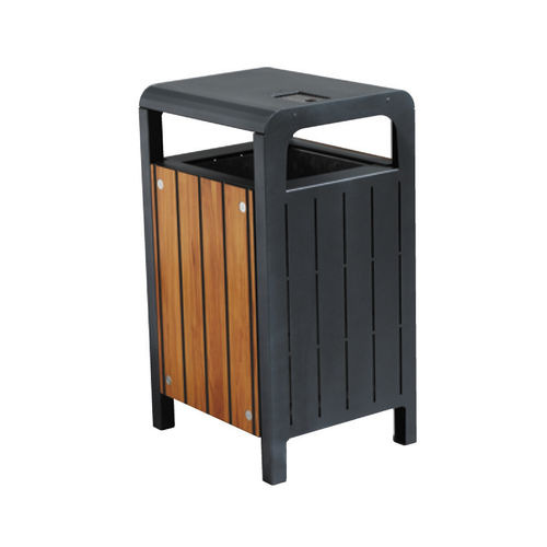 Public trash can / steel / wooden / contemporary ATHENA SYMBIOS HUSSON INTERNATIONAL