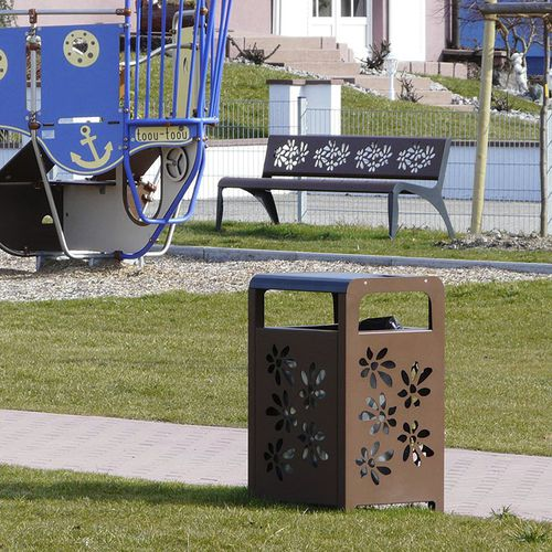 Public trash can / steel / contemporary ATHENA FLOWERS HUSSON INTERNATIONAL