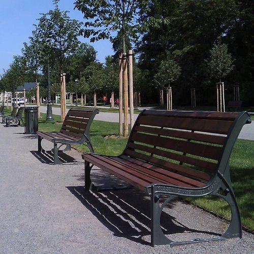 Public bench / traditional / wooden / cast iron RETRO HUSSON INTERNATIONAL