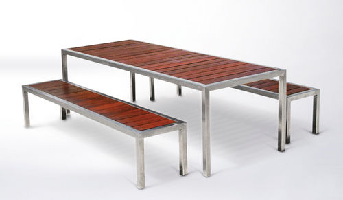 Metal And Wood Outdoor Furniture contemporary bench and table set / metal / wooden / outdoor