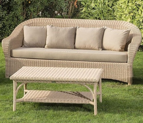 traditional sofa / garden / fabric / resin wicker