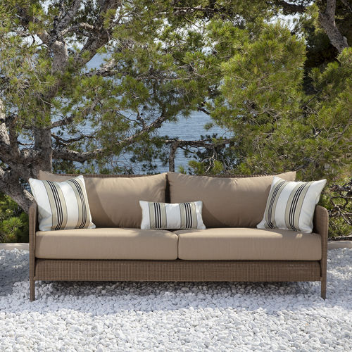contemporary sofa / garden / fabric / resin wicker