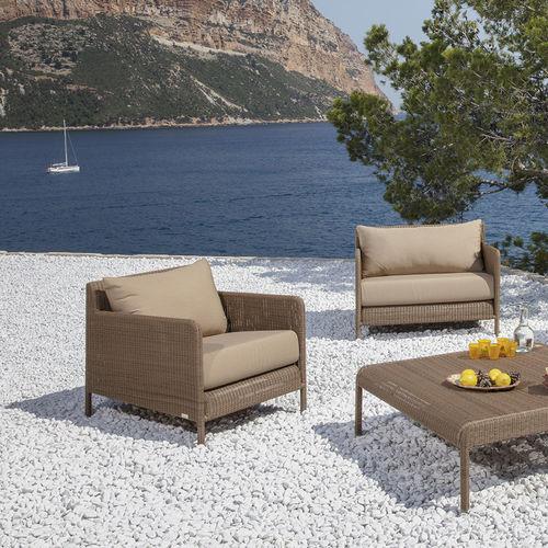 contemporary armchair / resin wicker / garden