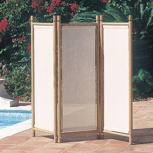contemporary screen / teak / Batyline® / garden