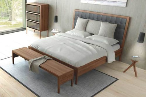 double bed / contemporary / with upholstered headboard / solid wood