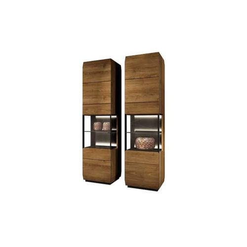 contemporary display cabinet / free-standing / glass / solid wood