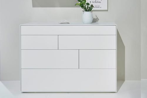 high chest of drawers / contemporary / lacquered wood / white