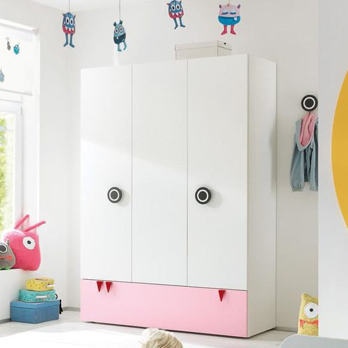 contemporary wardrobe / natural oak / with swing doors / child's