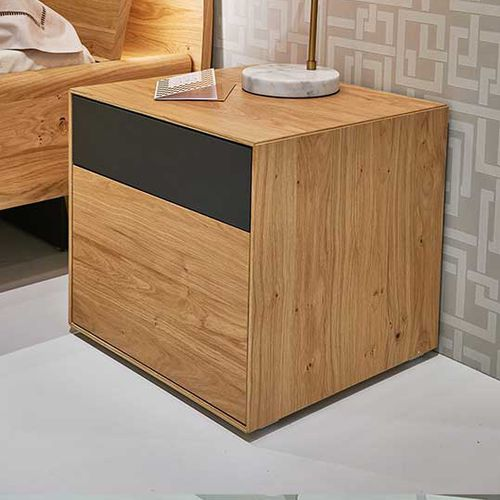 contemporary bedside table / natural oak / square / with drawer