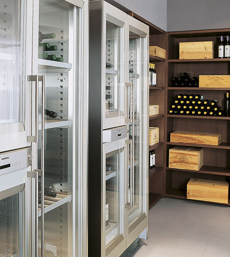 commercial wine cabinet / wooden / glazed