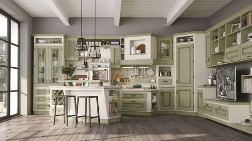 traditional kitchen / wooden / U-shaped / with handles