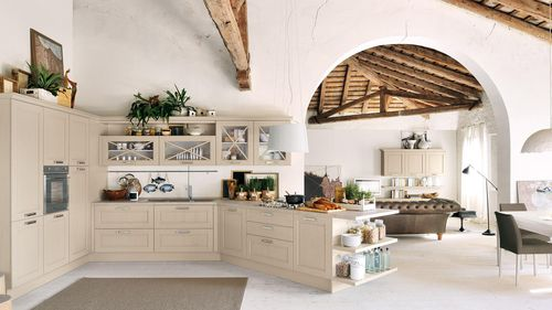 traditional kitchen / solid wood / with handles