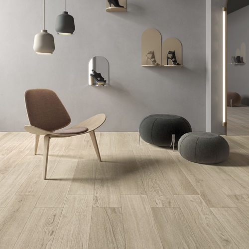 indoor tile / for floors / porcelain stoneware / wood look