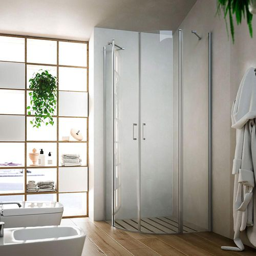 swing shower screen / corner / curved / glass