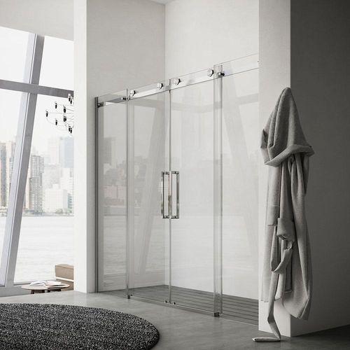sliding shower screen / for alcoves / glass