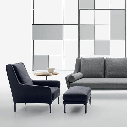 Contemporary armchair / fabric / leather / with footrest ÉDOUARD B&B Italia