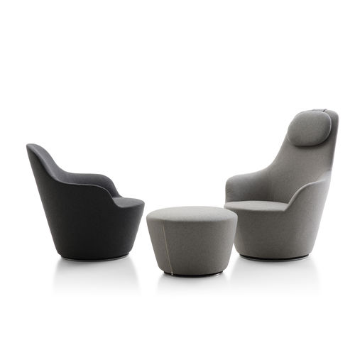 contemporary armchair / fabric / swivel / high back