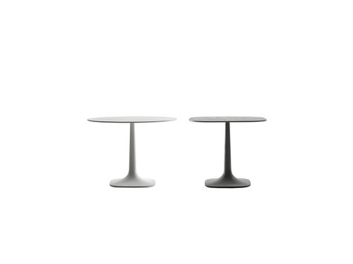 contemporary table / sheet metal / concrete / thermoplastic