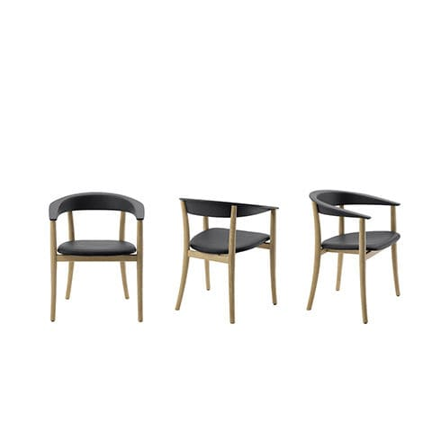 contemporary chair / wooden / leather