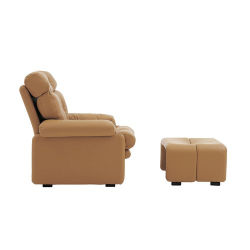 Fabric armchair / leather / with footrest / contemporary CORONADO by Afra & Tobia Scarpa B&B Italia
