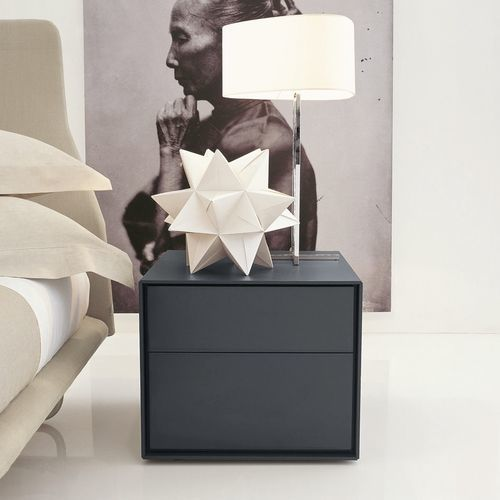contemporary bedside table / MDF / rectangular / with drawer