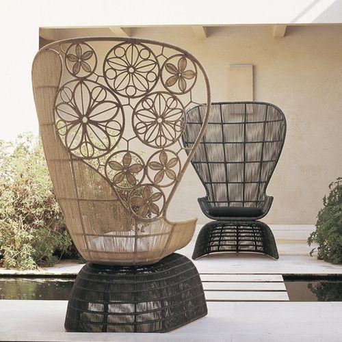 original design armchair / polyethylene / abaca fiber / high back