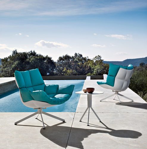 contemporary fireside chair / fabric / aluminum / plastic