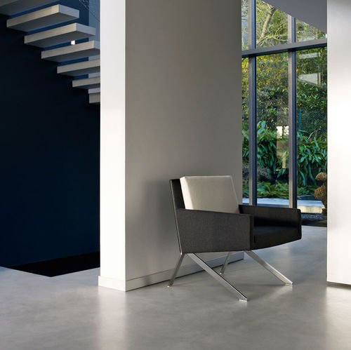 Contemporary armchair / fabric / leather / steel THEO by Vincent Van Duysen B&B Italia