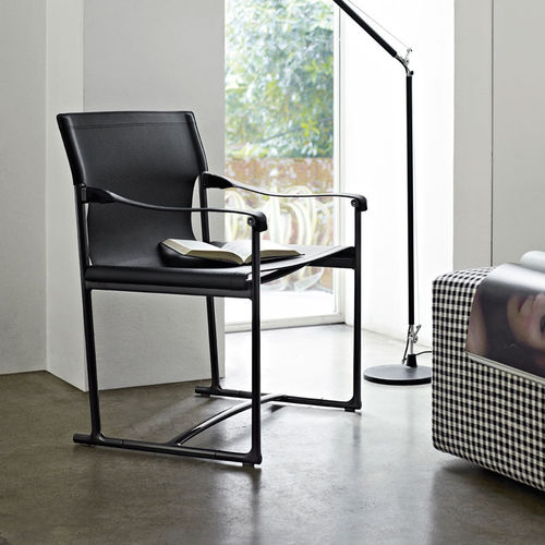 contemporary chair / folding / with armrests / sled base