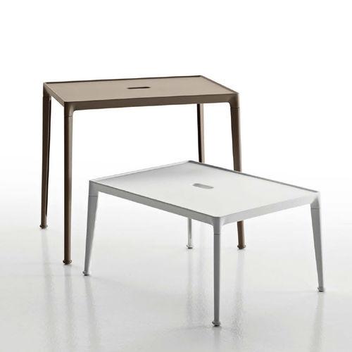contemporary side table / iroko / cast aluminum / rectangular