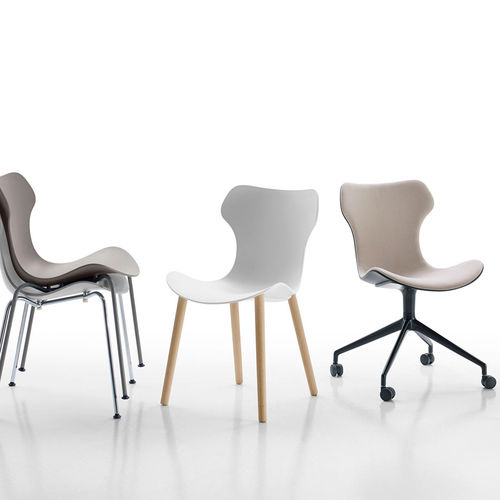 contemporary chair / on casters / stackable / upholstered