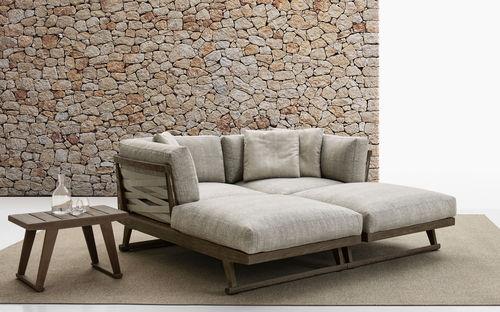 contemporary daybed / fabric / teak / garden