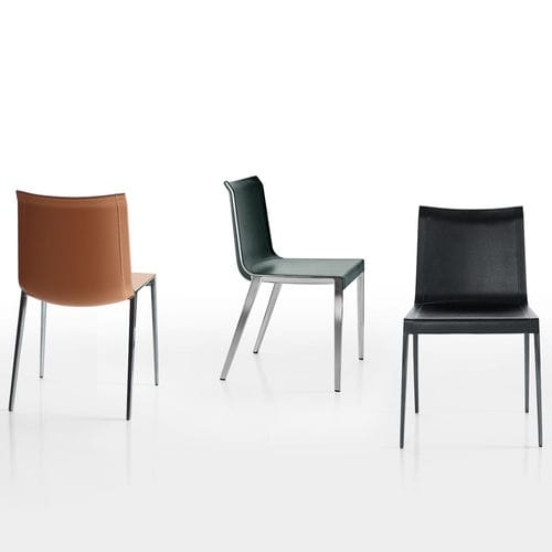 contemporary chair / leather / aluminum / brown