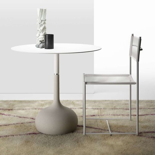 contemporary table / concrete / lacquered steel / steel