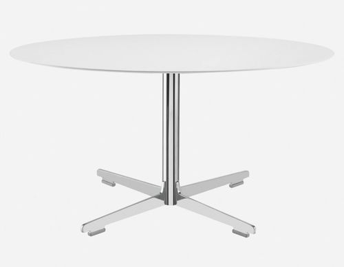 contemporary table / plywood / chrome steel / enameled metal