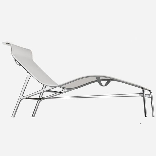 contemporary sun lounger / cast aluminum / leather / PVC
