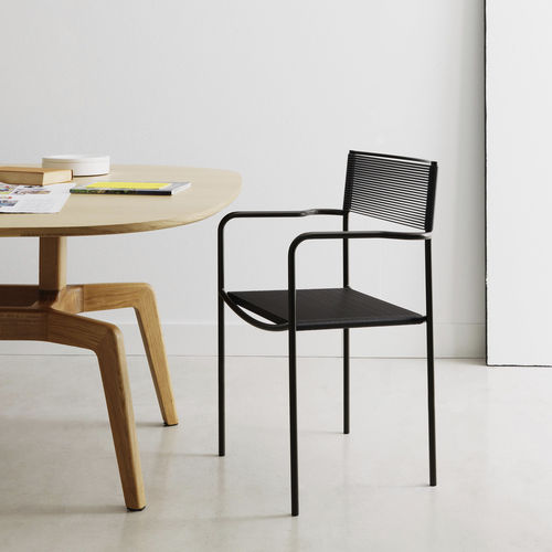 contemporary restaurant chair / with armrests / stackable / sled base