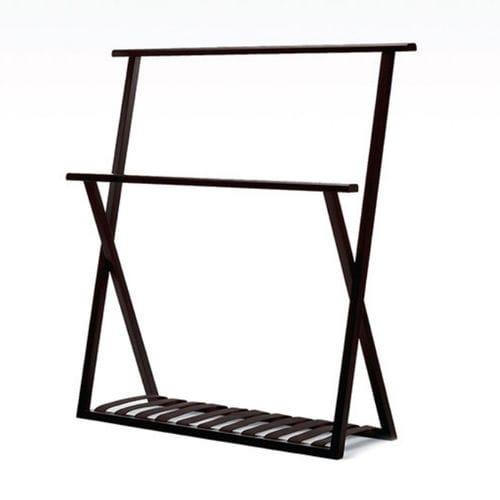 2-bar towel rack / floor-standing / oak