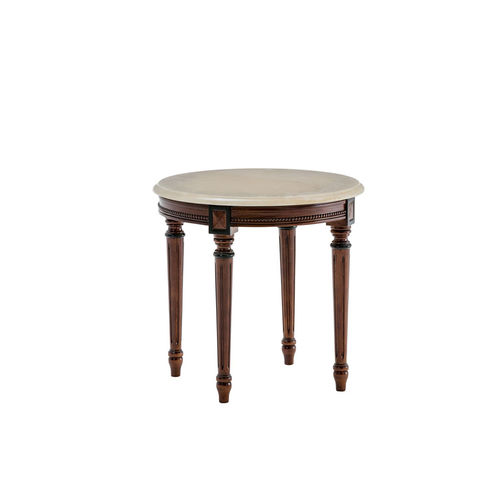 traditional side table / marble / mahogany / round