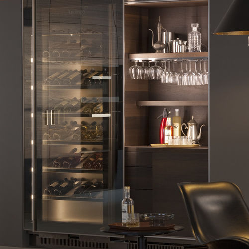 built-in wine cabinet / electric / glazed