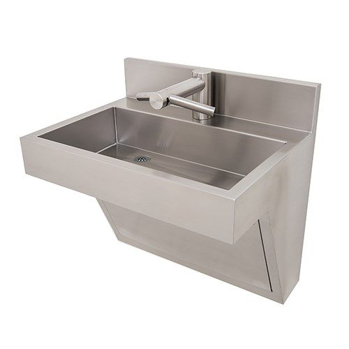 wall-mounted washbasin / rectangular / stainless steel / contemporary