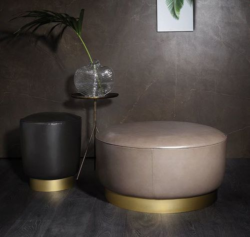 contemporary ottoman / fabric / leather / metal