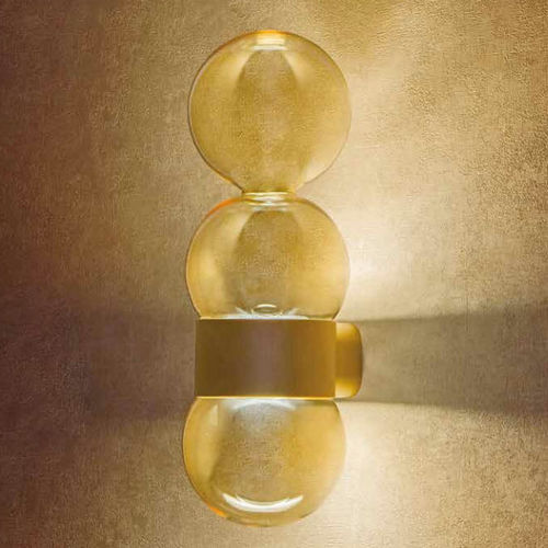 contemporary wall light / solid aluminum / glass / LED