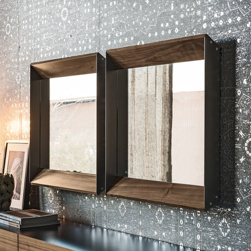 wall-mounted mirror / contemporary / rectangular / walnut