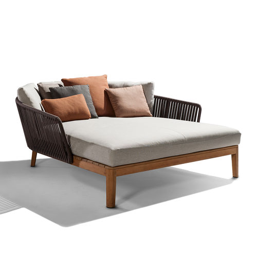 contemporary daybed / water-repellent fabric / teak / polyolefin
