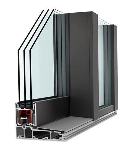entry door / sliding / aluminum / security
